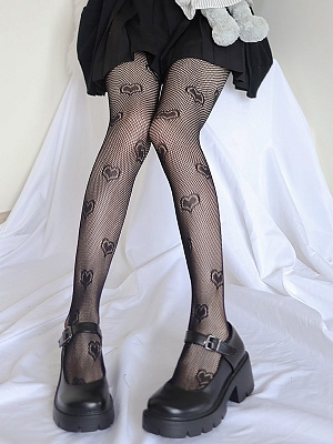 Gothic Punk Sexy Heart-shaped Mesh Tights by Blood X