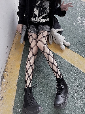 Gothic Punk Hot Girl Diamond Lattice Hollow Out Mesh Tights by Blood X