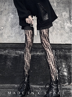 Gothic Punk Sexy F Alphabet Lace Mesh Tights by Blood X