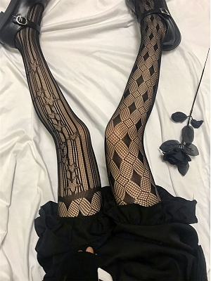 Gothic Hot Girl Asymetrical Mesh Tights by Blood X