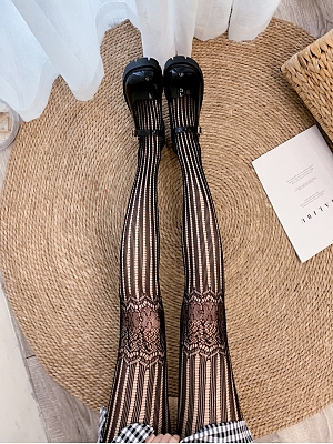 Gothic Hollow Out Lace Striped Mesh Tights by Blood X