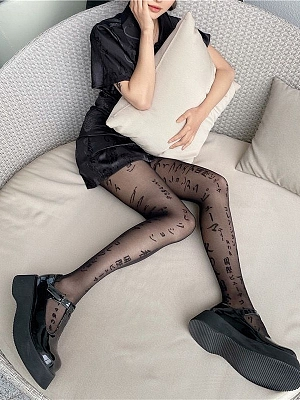 Gothic Sexy Hot Girl Alphabet Print Tights by Blood X