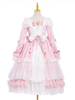 Pink Contract Square Neckline Long Sleeves Hanayome Sweet Lolita Dress OP