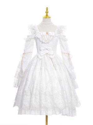 Hanayome Square Neckline Open Shoulder Long Sleeves Elegant Lolita Dress OP