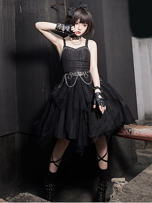 Praise of Black Crow Punk Lolita Dress JSK by Cat Highness