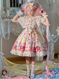 Teddy ate the Berries Empire Waist Sweet Lolita Dress JSK
