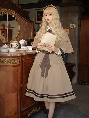 Melecorite Latte Chapter of Mist Series Lolita Matching Beret / Embroidered Scarf / Hairclip