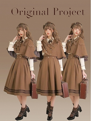 Hazelnut Mocha Chapter of Mist Series Matching Beret / Embroidered Scarf / Hairclip