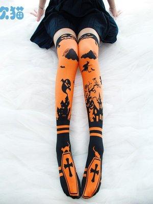 Halloween Cross Print Velvet Lolita Stockings