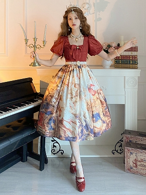 The victory of the Church Square Neckline Short Puff Sleeves Classic Lolita Dress OP by Classtyle