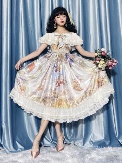 Angel Descends Off-the-shoulder Neckline Classic Lolita Dress JSK by Classtyle