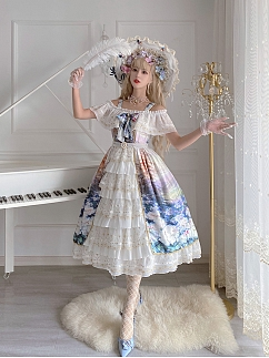 Sea of Flowers Off-the-shoulder Neckline Elegant Lolita Dress JSK by Classtyle