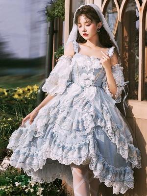 Elegant Light Blue Hanayome Lolita Dress JSK Full Set by ChunLv Lolita