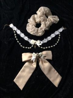 Triple Yarn Elegant Lace Lolita Dress Matching Choker / Hairclip / Hairropes