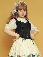 Flora Short Black Lolita Corset by Crucis Universal Tailor Company
