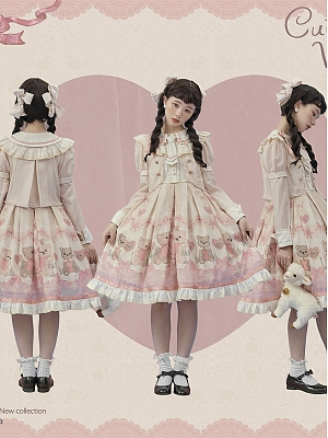 Lil Volta Peter Pan Collar Removable Sleeves Fake Two-pieces Sweet Lolita Dress OP with Tie