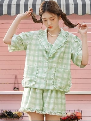 Sanrio Authorized Little Twin Stars Waffle Lapel Collar Short Sleeves Shirt / Cami Top / Shorts by Dear Chestunt