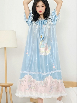Sanrio Authorized Little Twin Stars Galaxy Dream Lace Mesh Nightgown by Dear Chestunt