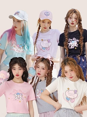 Sanrio Authorized Little Twin Stars Round Neckline Short Sleeves T-shirt by Dear Chestunt