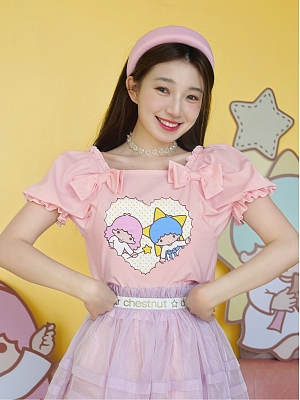 Sanrio Authorized Little Twin Stars Summer Sweetheart Square Neckline Short Puff Sleeves T-shirt by Dear Chestunt