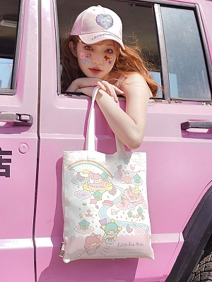 Sanrio Authorized Little Twin Stars Canvas Tote Bag by Dear Chestunt