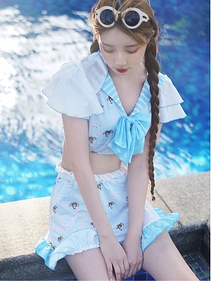 Sanrio Authorized Sugarbunnies Pajamas Navy Collar Top / Culottes by Dear Chestunt