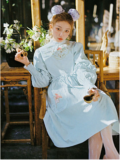 Sanrio Authorized Little Twin Stars Stand Collar Long Sleeves Embroidered Dress