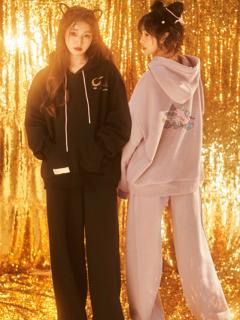 Sanrio Authorized Little Twin Stars  Long Sleeves Plus Velvet Hoodie / Wid Legs Pants