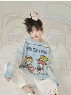 Sanrio Authorized Little Twin Stars Alice Round Neckline Long Sleeves Sweater