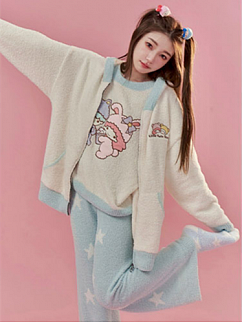 Sanrio Authorized Little Twin Stars Coral Fleece Round Neckline Long Sleeves Top / Hooded Jacket / Pants