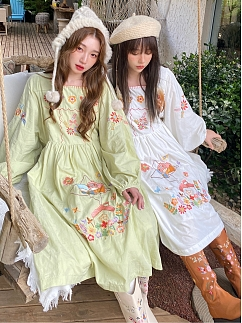 Sanrio Authorized Little Twin Stars Square Neckline Long Sleeves Embroidered Dress