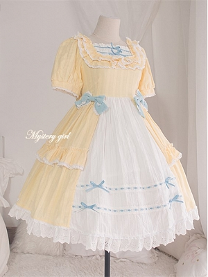Mystery Girl Square Neckline Short Puff Sleeves Sweet Lolita Dress OP by Demon Infested
