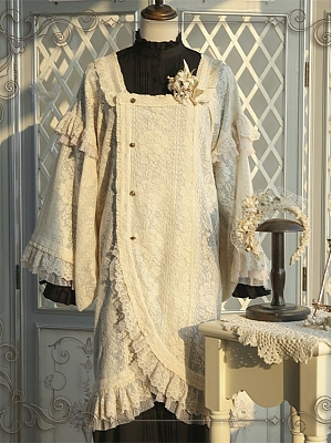 Rose Harmony Square Neckline Wide Sleeves Lace Trimmed Wa Lolita Coat