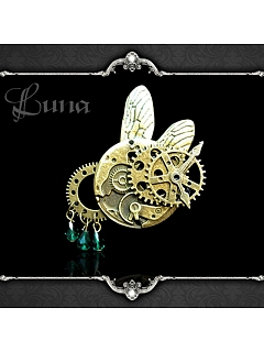 Handmade Gothic Steampunk Insect Flying Machine Gear Brooch by Dominum Gloria