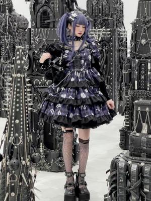 Little Devil Purple Plaid Skull Bear Dress OP by Diamond Honey