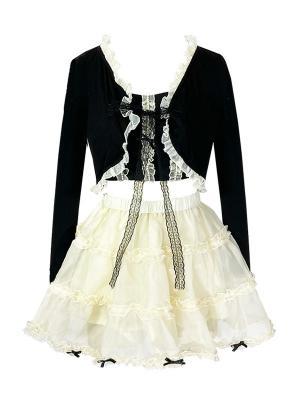 Cream Pie Long Sleeves Short Outerwear / Cami Top / Puff Skirt Full Set by Diamond Honey