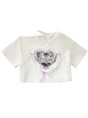 Sweetheart Girl Open Shoulder Short Sleeves Print Top by Diamond Honey