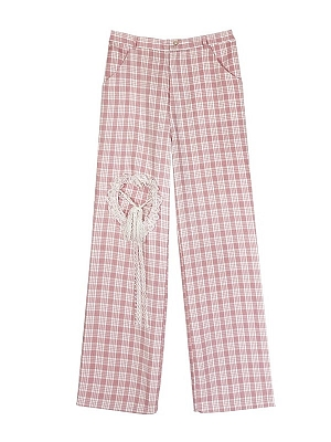 Midsummer Peach Hollow Plaid  Wide Leg Pants by Diamond Honey