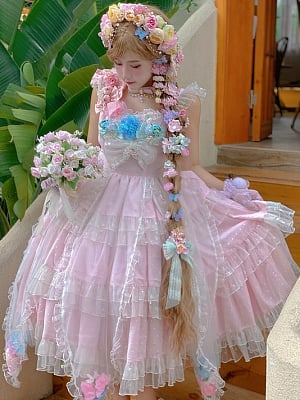 Full-blown Flowers Irregular Hemline Lolita Dress JSK