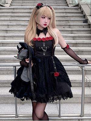 Dangerous Rose Gothic Square Neckline Cami Dress / Wristcuffs / Hairclips Full Set