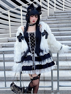 Imprisoned Love Punk Square Neckline Cami Dress with Choker