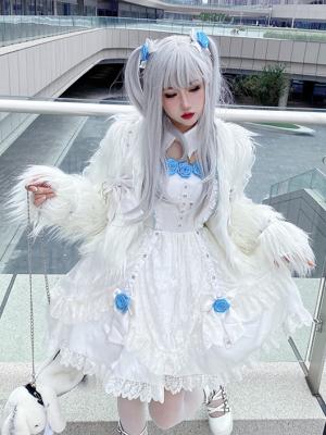 Sweet Doll Gothic Long Sleeves Bowknot Decorative Shaggy Jacket