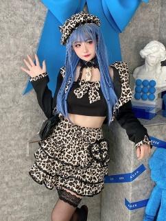 Sweetheart Leopard Lapel Collar Long Sleeves Short Jacket / Halter Top / Skirt Full Set