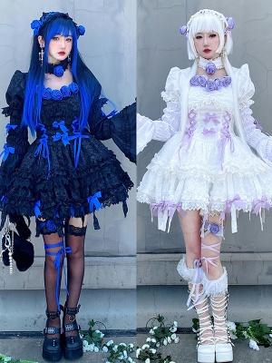 Twins Short Puff Sleeves A-line Skirt Gothic Lolita Dress OP Full Set