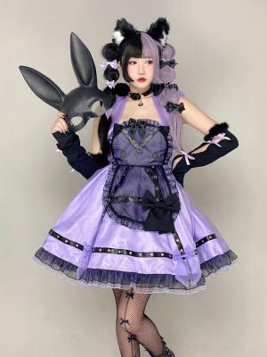Lovers Kittens Halter Neck Purple Dress by Diamond Honey