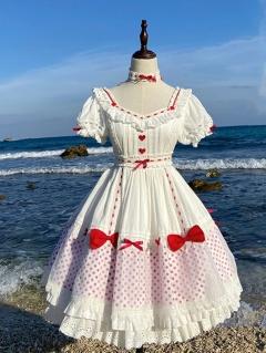 Little Love Square Neckline Short Puff Sleeves Sweet Lolita Dress OP by Dream Island