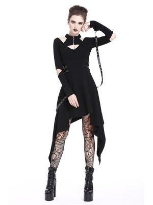 Gothic Punk Hollow Long Sleeves Irregular Halter Dress