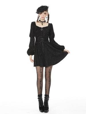 Gothic Square Neckline Long Sleeves Velvet Dress