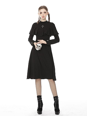 Gothic Stand Collar Long Sleeves Dress