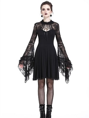 Gothic Stand Collar Lace Hollow Trumpet Sleeves Knitted Dress